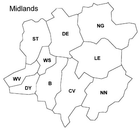 british postal area map midlands