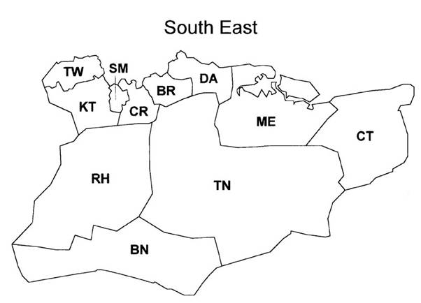 british postal area map south east